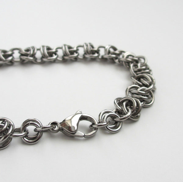 Stainless steel chainmaille bracelet, barrel weave - Tattooed and Chained Chainmaille  - 5