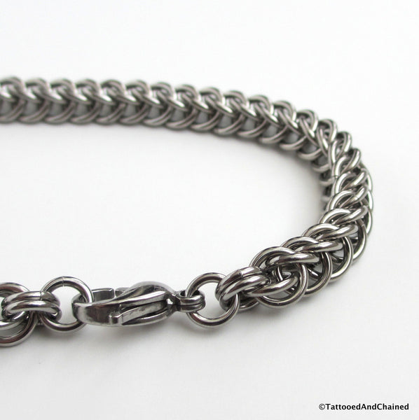 Stainless steel chainmaille bracelet, half Persian 3 in 1 weave - Tattooed and Chained Chainmaille  - 5