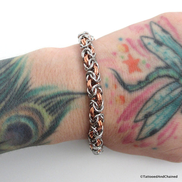 Chainmaille Byzantine bracelet, copper and steel jewelry - Tattooed and Chained Chainmaille  - 4