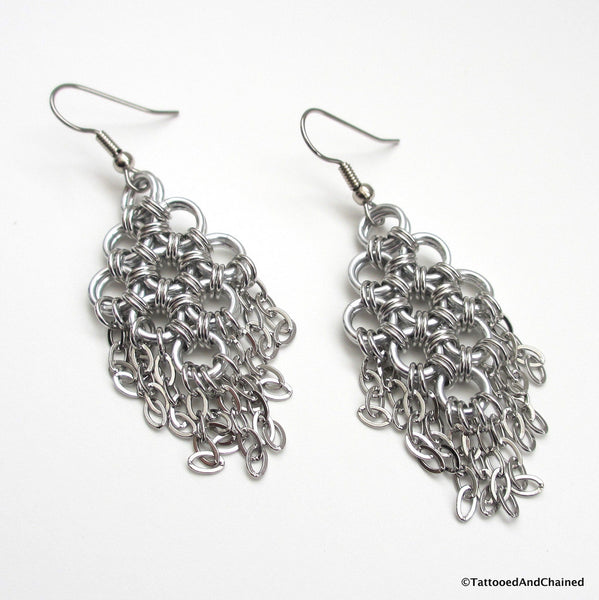 Chainmaille statement earrings, silver aluminum with steel chains - Tattooed and Chained Chainmaille  - 4