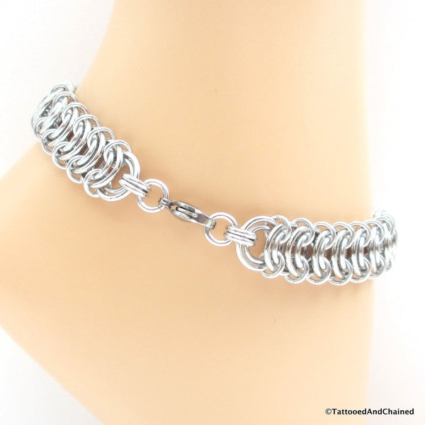 Bi pride chainmaille anklet, vertebrae weave with anodized aluminum washers - Tattooed and Chained Chainmaille  - 2