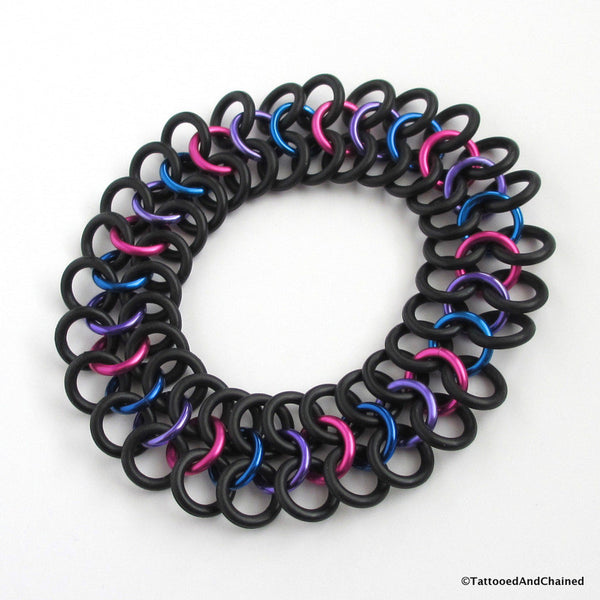 Bisexual pride stretchy bracelet, chainmaille Euro 4 in 1 weave - Tattooed and Chained Chainmaille  - 5
