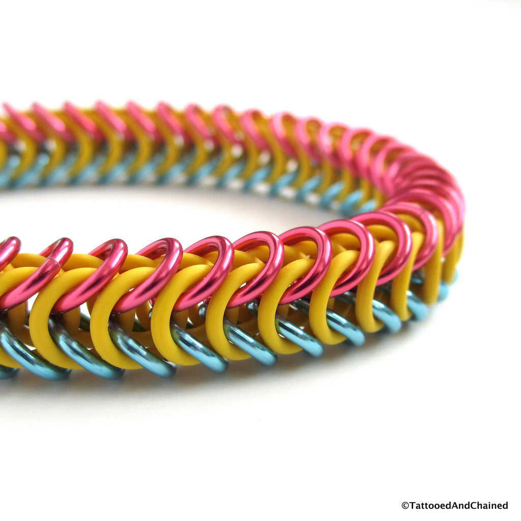 Pansexual pride stretchy bracelet, chainmaille box chain - Tattooed and Chained Chainmaille  - 1