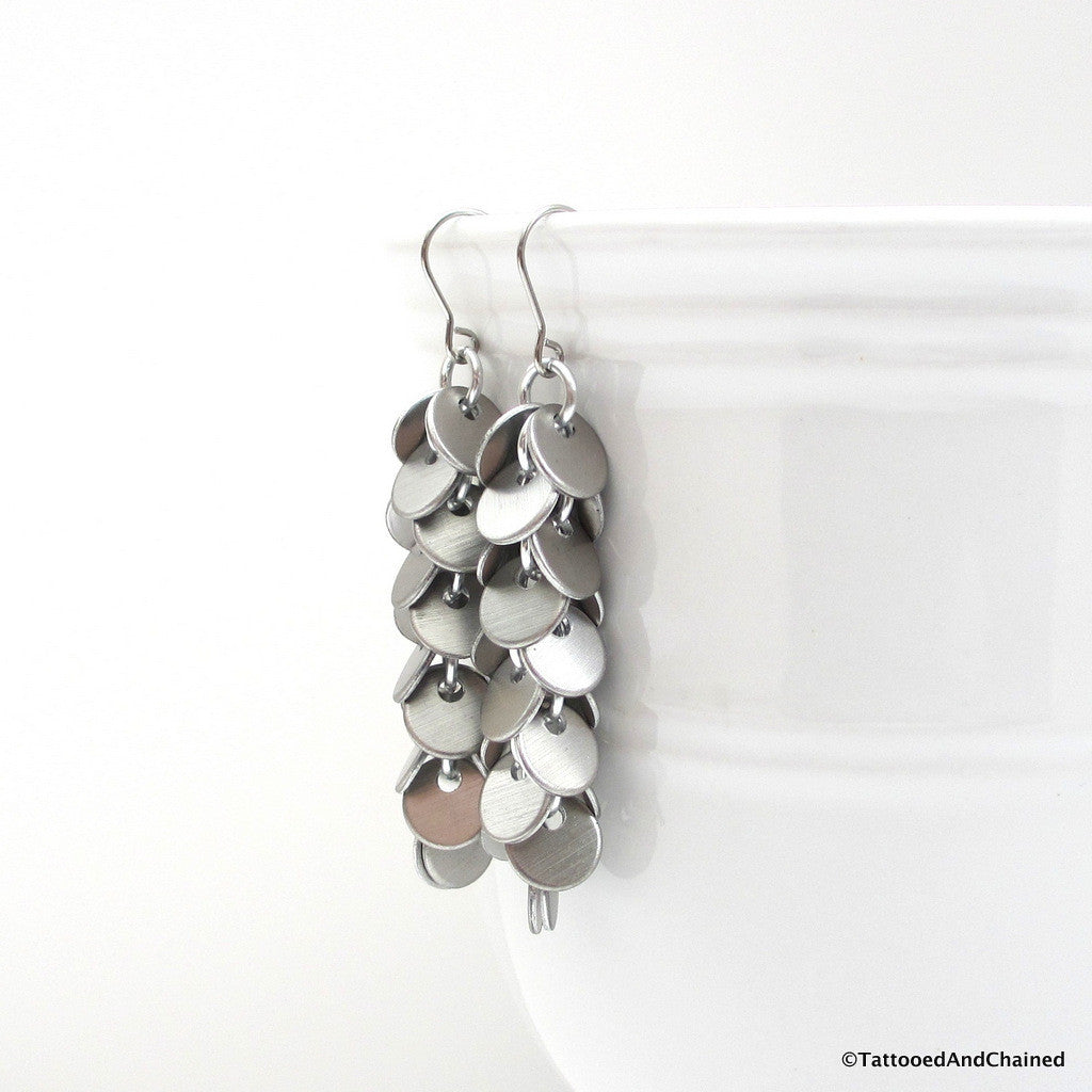 Shaggy disc chainmaille earrings, brushed aluminum - Tattooed and Chained Chainmaille  - 1