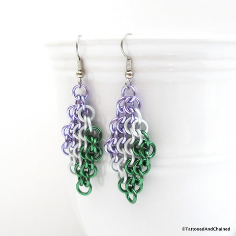 Genderqueer pride earrings, chainmaille European 4 in 1 weave - Tattooed and Chained Chainmaille  - 1
