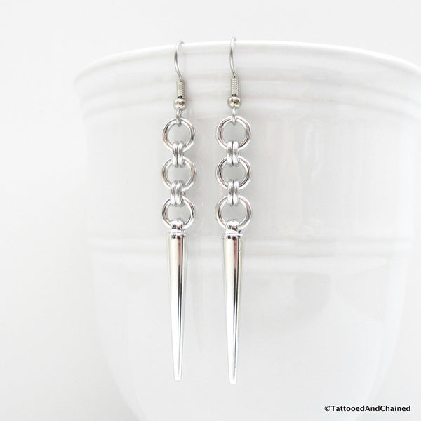 Japanese style chainmaille earrings with silver spikes - Tattooed and Chained Chainmaille  - 5