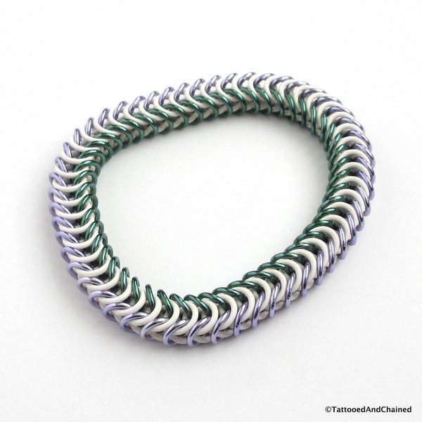 Genderqueer pride stretchy bracelet, chainmaille box chain - Tattooed and Chained Chainmaille  - 5