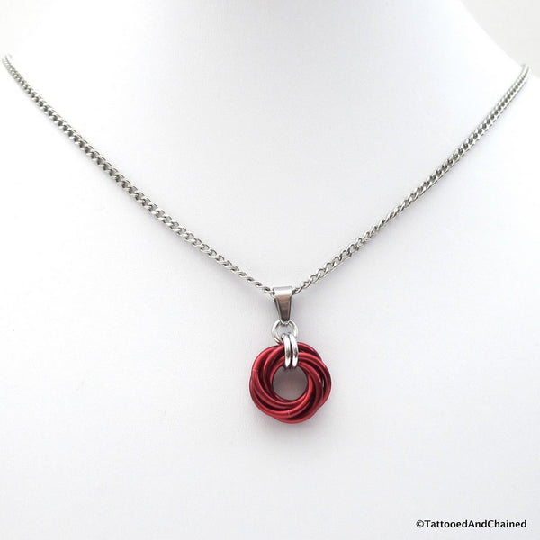 Red chainmaille love knot pendant - Tattooed and Chained Chainmaille  - 4