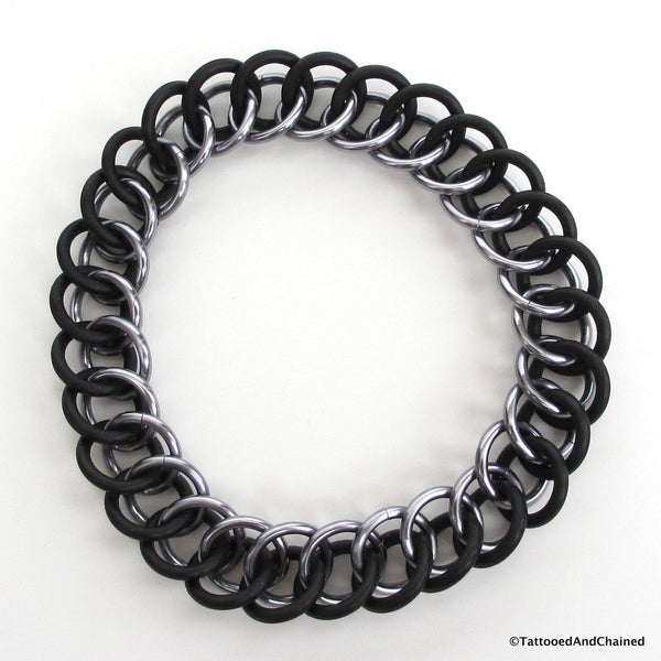 Half Persian 3 in 1 chainmaille stretchy bracelet, gray and black - Tattooed and Chained Chainmaille  - 4