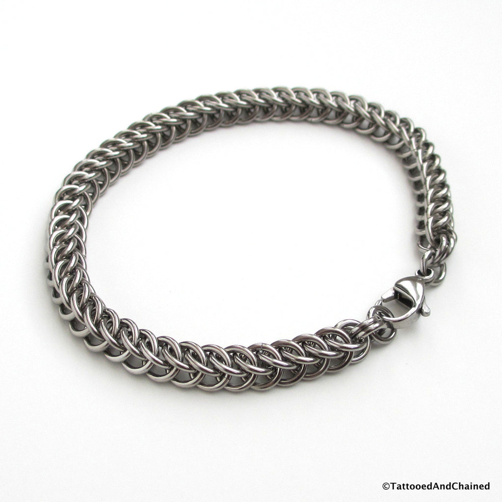 Stainless steel chainmaille bracelet, half Persian 3 in 1 weave - Tattooed and Chained Chainmaille  - 1