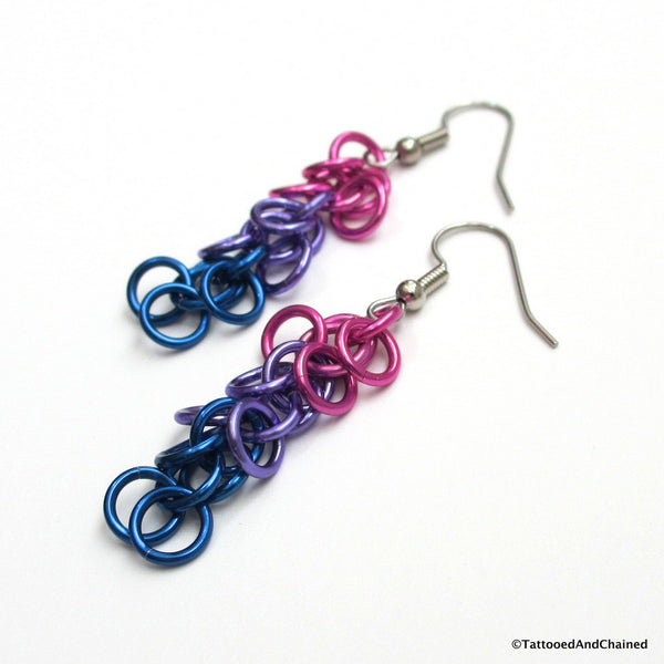 Bi pride earrings, chainmaille shaggy loops weave - Tattooed and Chained Chainmaille  - 5