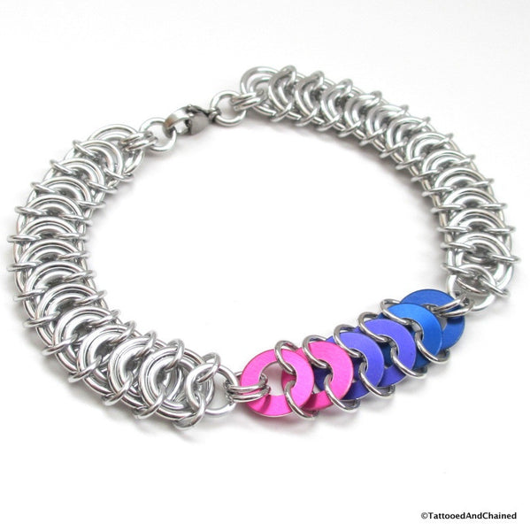 Bi pride chainmaille anklet, vertebrae weave with anodized aluminum washers - Tattooed and Chained Chainmaille  - 5
