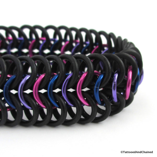 Bisexual pride stretchy bracelet, chainmaille European 6 in 1 weave - Tattooed and Chained Chainmaille  - 2