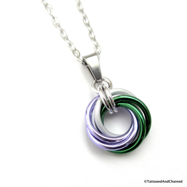 Genderqueer pride chainmaille love knot pendant; lavender, white, and green - Tattooed and Chained Chainmaille  - 1