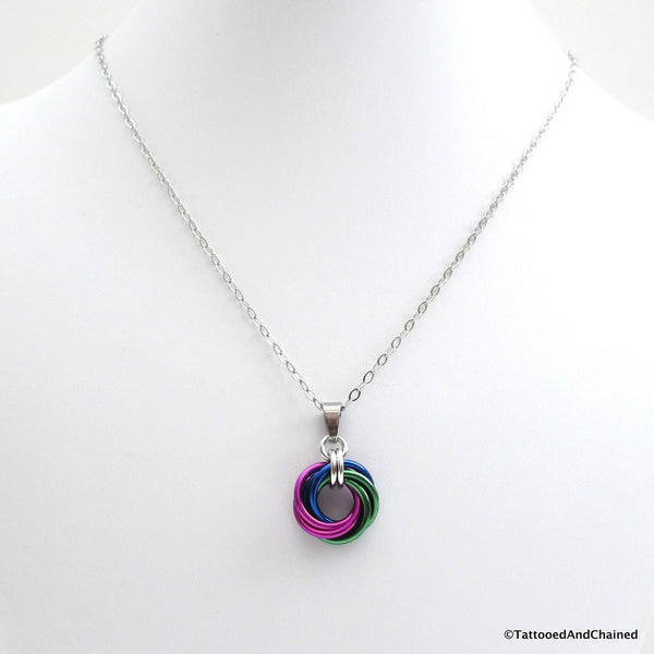 Green, blue, and violet pendant, chainmaille love knot - Tattooed and Chained Chainmaille  - 5