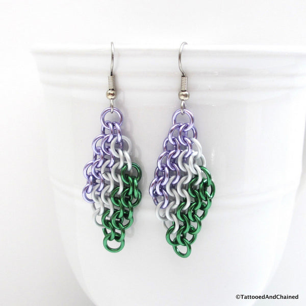 Genderqueer pride earrings, chainmaille European 4 in 1 weave - Tattooed and Chained Chainmaille  - 2