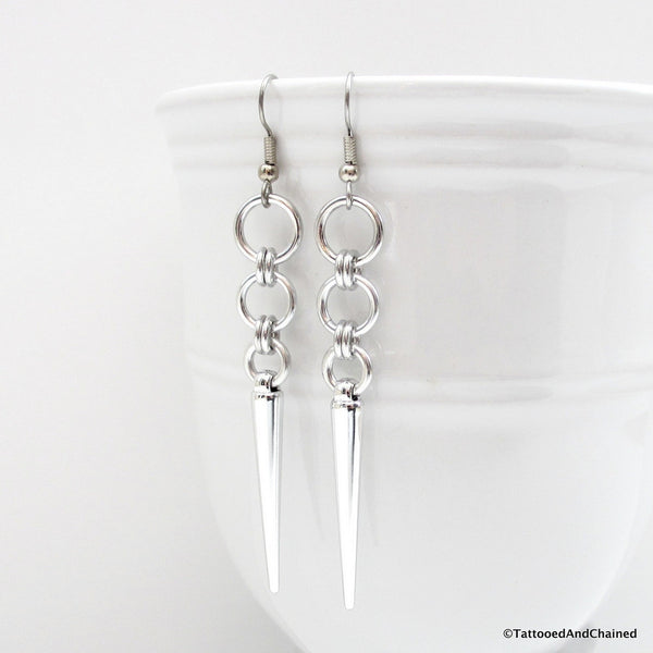 Silver spike chainmaille earrings - Tattooed and Chained Chainmaille  - 5