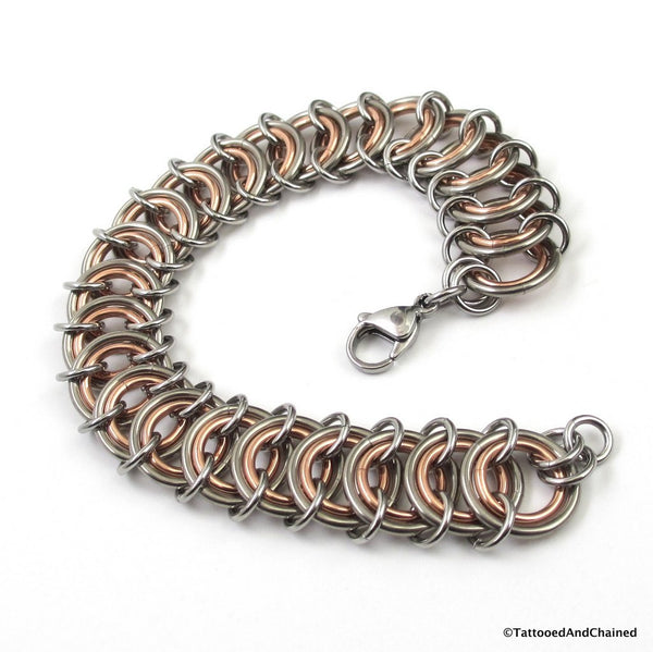 Copper & steel chainmaille vertebrae bracelet - Tattooed and Chained Chainmaille  - 1
