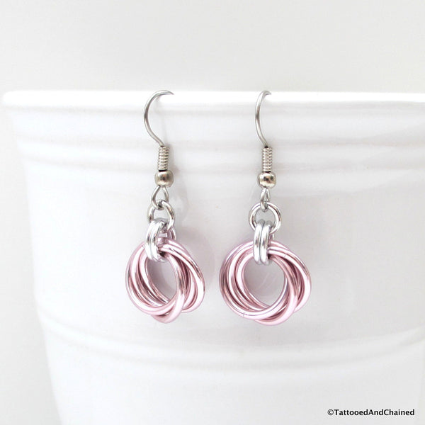 Pastel pink earrings, chainmaille love knot - Tattooed and Chained Chainmaille  - 3