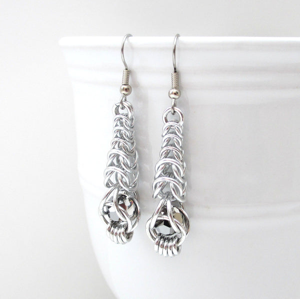 Chainmaille graduated box chain earrings with captive gray crystals - Tattooed and Chained Chainmaille  - 1