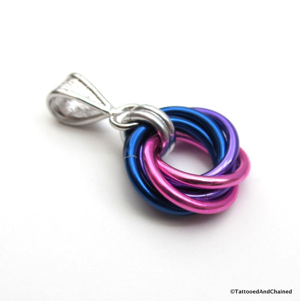 Bisexual pride chainmaille love knot pendant; pink, purple, blue - Tattooed and Chained Chainmaille  - 5