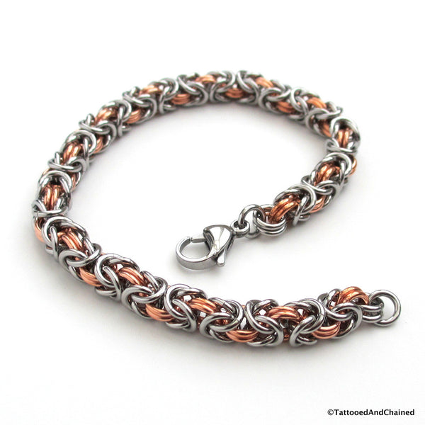 Chainmaille Byzantine bracelet, copper and steel jewelry - Tattooed and Chained Chainmaille  - 3