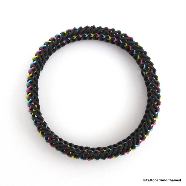 Pansexual pride stretchy bracelet, chainmaille European 6 in 1 weave - Tattooed and Chained Chainmaille  - 4
