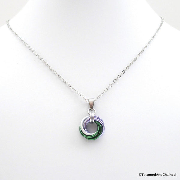 Genderqueer pride chainmaille love knot pendant; lavender, white, and green - Tattooed and Chained Chainmaille  - 2