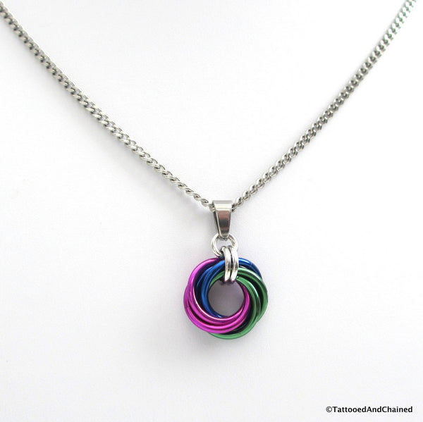Green, blue, and violet pendant, chainmaille love knot - Tattooed and Chained Chainmaille  - 4