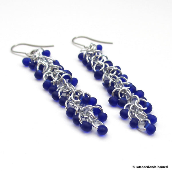 Cobalt blue beaded chainmaille earrings, Shaggy Loops weave - Tattooed and Chained Chainmaille  - 4