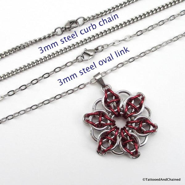 Red chainmaille pendant, Celtic star - Tattooed and Chained Chainmaille  - 2
