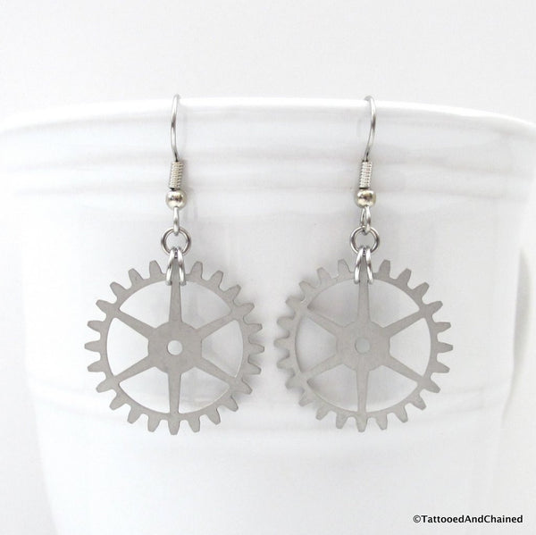 Steampunk gear earrings, 6 spoke gear - Tattooed and Chained Chainmaille  - 2
