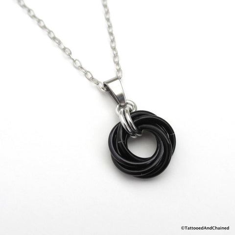 Black pendant, chainmaille love knot - Tattooed and Chained Chainmaille  - 1