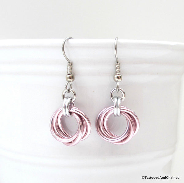 Pastel pink earrings, chainmaille love knot - Tattooed and Chained Chainmaille  - 1