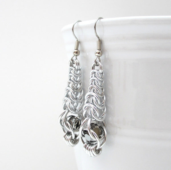 Chainmaille graduated box chain earrings with captive gray crystals - Tattooed and Chained Chainmaille  - 2
