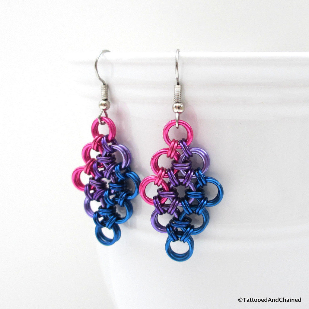 Bisexual pride earrings, chainmaille Japanese 12 in 2 weave - Tattooed and Chained Chainmaille  - 1