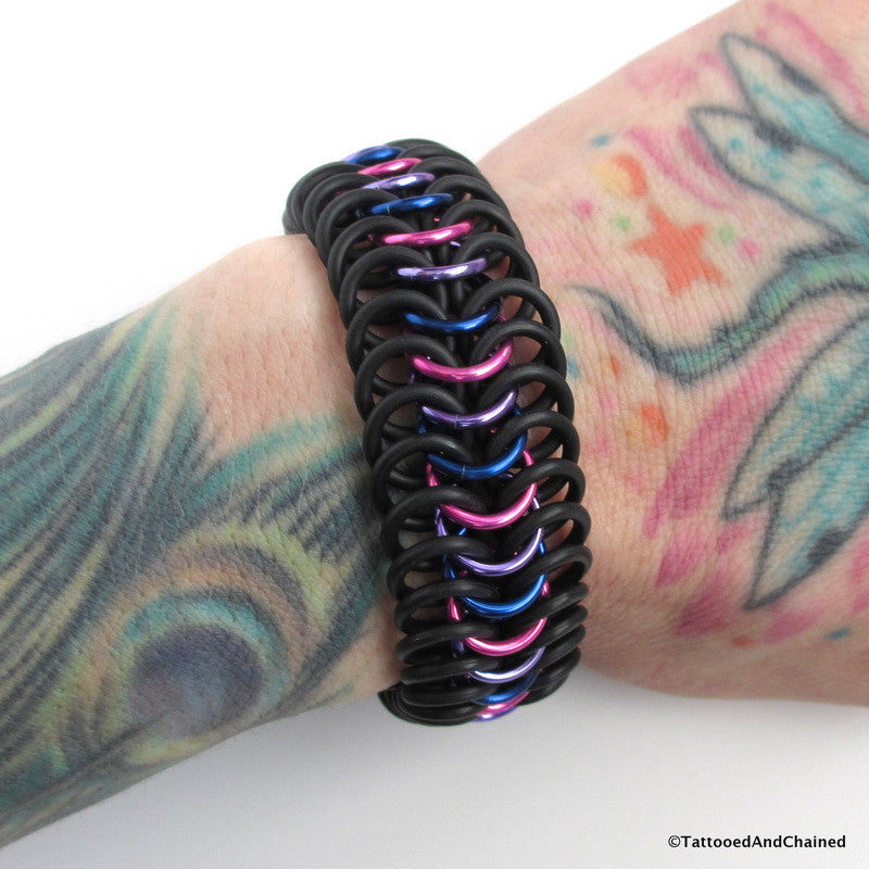 Bisexual pride stretchy bracelet, chainmaille European 6 in 1 weave - Tattooed and Chained Chainmaille  - 1
