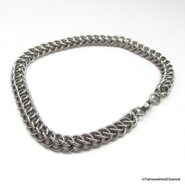 Stainless steel anklet, chainmaille half Persian 3 in 1 weave - Tattooed and Chained Chainmaille  - 3