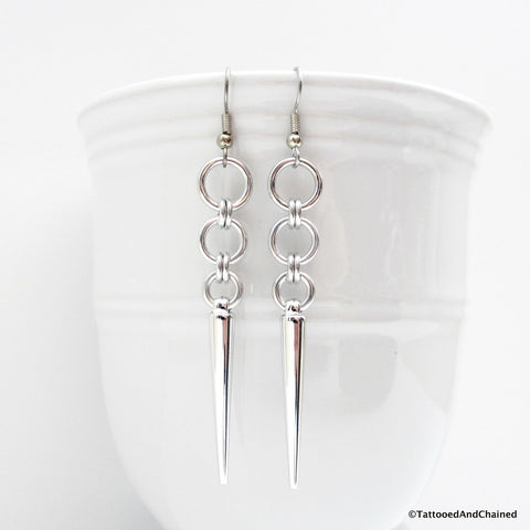 Silver spike chainmaille earrings - Tattooed and Chained Chainmaille  - 1