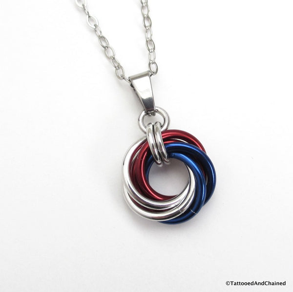 Patriotic USA pendant, chainmaille love knot - Tattooed and Chained Chainmaille  - 1