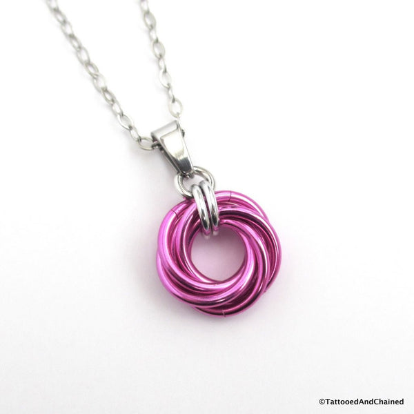 Hot pink pendant, chainmaille love knot - Tattooed and Chained Chainmaille  - 1