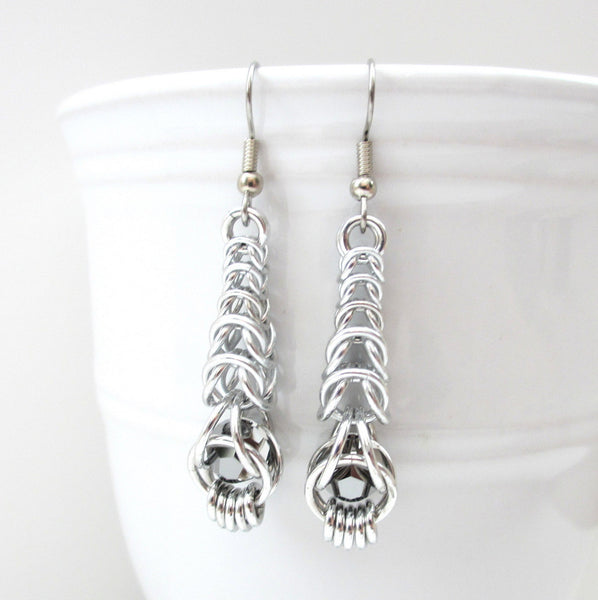 Chainmaille graduated box chain earrings with captive gray crystals - Tattooed and Chained Chainmaille  - 4