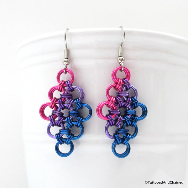 Bisexual pride earrings, chainmaille Japanese 12 in 2 weave - Tattooed and Chained Chainmaille  - 2