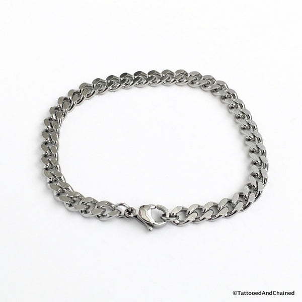 5mm stainless steel curb chain bracelet - Tattooed and Chained Chainmaille  - 4