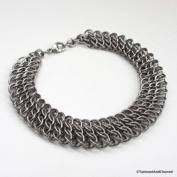 Wide stainless steel anklet, chainmaille half Persian 3 sheet 6 in 1 - Tattooed and Chained Chainmaille  - 4