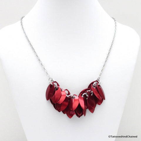 Red chainmaille scales necklace - Tattooed and Chained Chainmaille  - 1