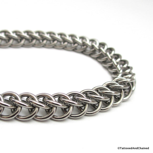 Stainless steel anklet, chainmaille half Persian 3 in 1 weave - Tattooed and Chained Chainmaille  - 4