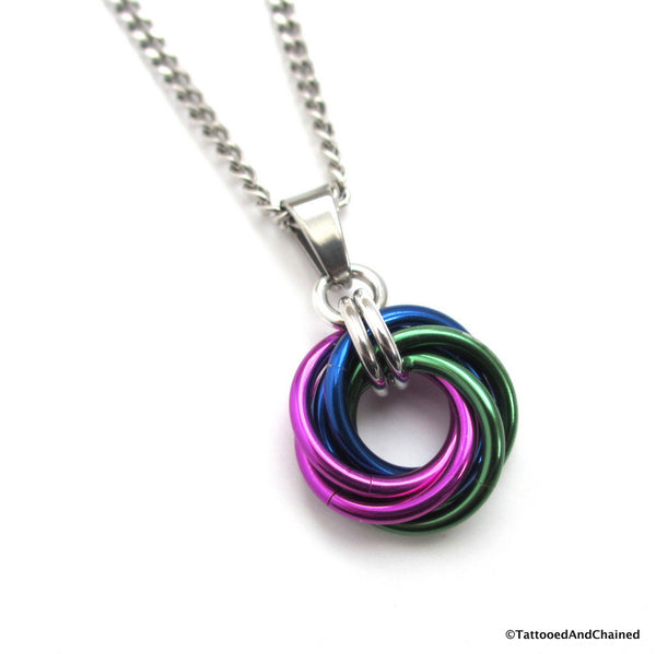 Green, blue, and violet pendant, chainmaille love knot - Tattooed and Chained Chainmaille  - 1