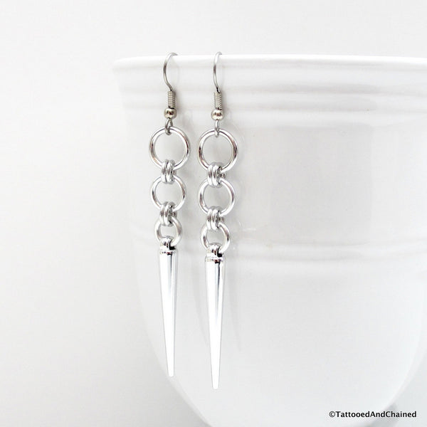 Silver spike chainmaille earrings - Tattooed and Chained Chainmaille  - 3