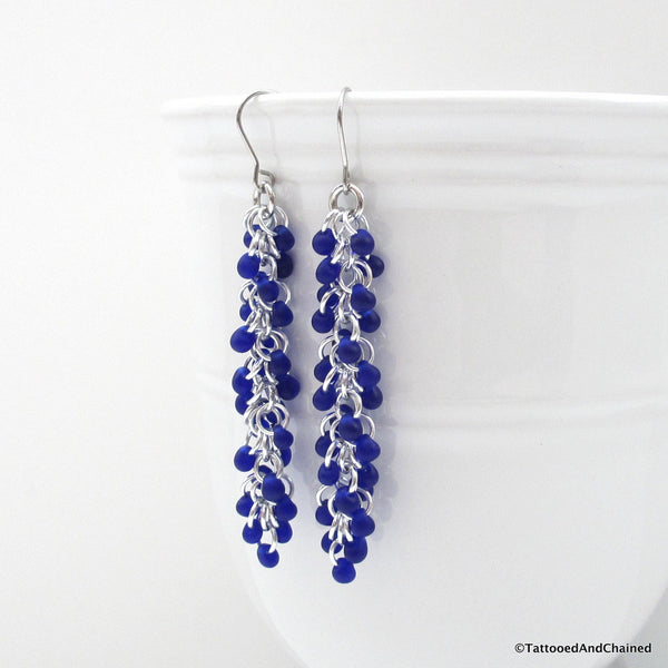 Cobalt blue beaded chainmaille earrings, Shaggy Loops weave - Tattooed and Chained Chainmaille  - 3